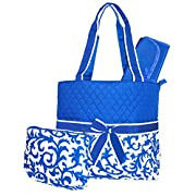 NGIL Damask Print Quilted Diaper Bag (Royal Blue)