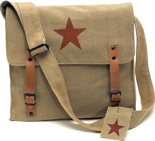 [Vintage Shoulder Medic Bag (Khaki, Red China Star)] (Army Medic Costumes)