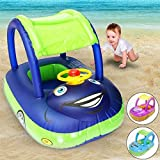 Kindsells Baby Pool Float, Baby Inflatable Car Swim Ring with Adjustable Sun Shade Canopy Safety Seat for Age 6-36 Months Toddlers