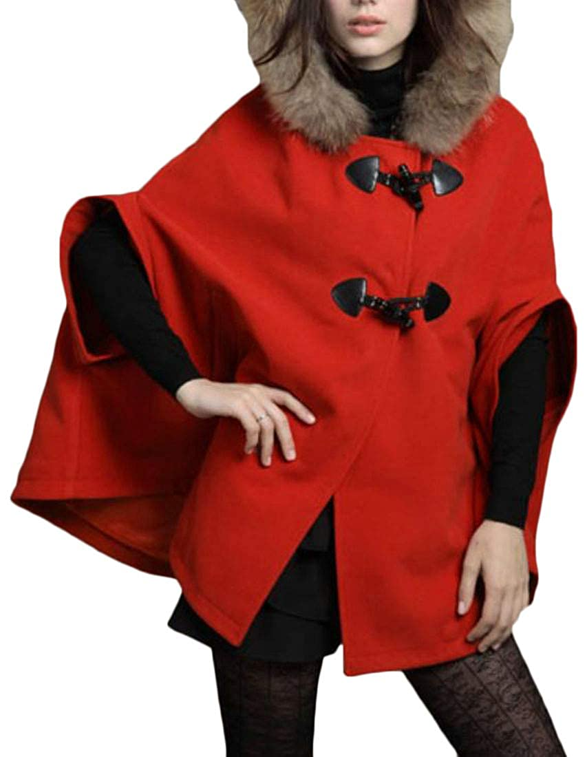 Red Cromoncent Women's Winter Warm Faux Fur Hooded Toggle Cape Poncho Woolen Outwear Pea Coat Jacket