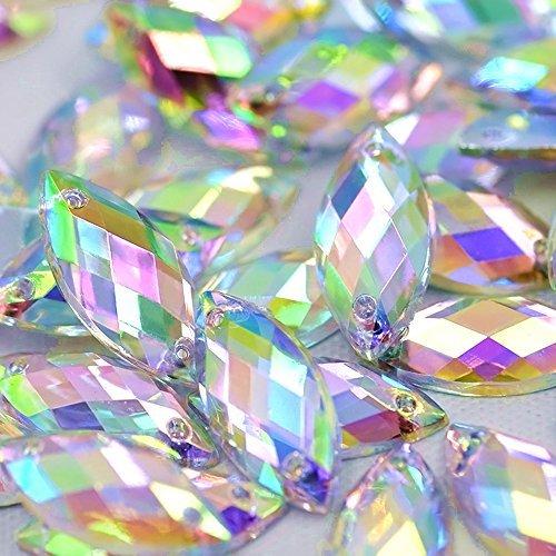 Big Sale 100pcs 7x15mm Horse Eye Shape Crystal AB Color Clear Sew On Acrylic Rhinestones Flatback Fancy Stones Sewing For Clothing Wedding Dress Decorations (AB) Clear Ab Color