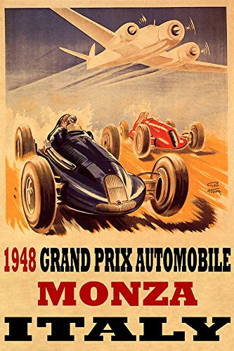 "1948 Grand Prix Automobile Monza Italy CAR Road Race Airplane 20"" X 30"" Image Size Vintage Poster REPRO Matte Paper WE Have Other Sizes"