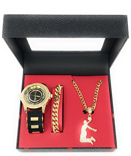 Men's Hip Hop Gold Watch and Iced Out Basketball Slam Dunk Pendant on Gold Chain with Matching Bracelet Gift Set