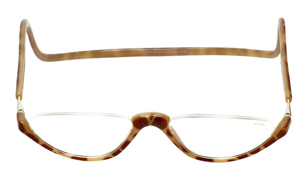a771be003d3 Amazon.com  Clic Sonoma Single Vision Half Frame Designer Reading Glasses  in Blonde Tortoise +1.75  Health   Personal Care