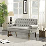 Belleze Vintage Loveseat Sofa Settee Bench with Wood Legs Living Room Linen Fabric Button Tufted, Gray Review