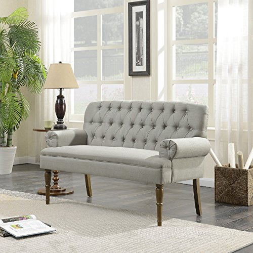 Belleze Vintage Loveseat Sofa Settee Bench with Wood Legs Living Room Linen Fabric Button Tufted, Gray (Settee Leather Red)