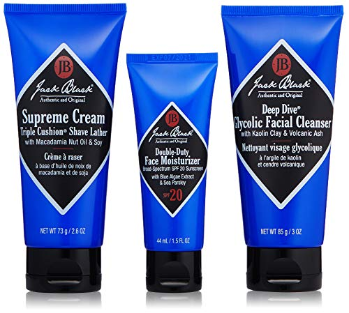 Jack Black - Shave Essentials Set - Deep Dive Glycolic Facial Cleanser, Supreme Cream Triple Cushion Shave Lather, and Double-Duty Face Moisturizer SPF 20, Three Piece Set (Lube Conditioning Beard Shave)