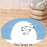VROSELV Custom carpetAnimal Decor Mother Polar Bear Hugging Her Baby in The Snow North Winter Love Keeps Warm Artful Theme Bedroom Living Room Dorm Decor Blue White Round 79 inches