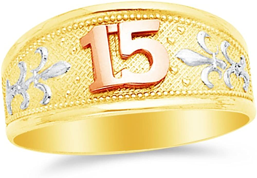 Jewel Tie Solid 14k Two Toned Gold 15 Years Birthday Ring Size 7