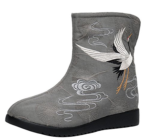 AvaCostume Red-crowned Embroidery Jacquard National Style Ankle Boots, Darkgray 36
