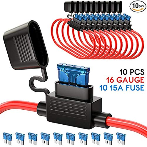 Inline Fuse Holder ATC/ATO Add-a-circuit Car Fuse Holder 10 Pack Fuse TAP Adapter 16 Gauge 20AMP Blade Automotive Fuse Holder Waterproof Heavy Duty Wire Fuse Holder with 10 pcs 15 AMP Standard Fuses