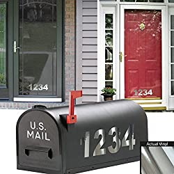 """6"""" inch High Chrome Mailbox Numbers. / Custom Home Business Street House Apartment Address Numbers. / Outdoor Specialty Vinyl Letter Number Decal Window Door Sticker Text. / By 1060 Graphics."""