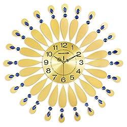 NEOTEND Decorative Silent Wall Clock Large Metal 3D Handmade Clock Gold Diameter 27