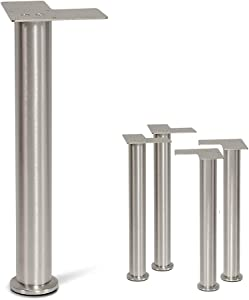 "Stainless Steel Straight Metal Sofa Legs, Furniture Legs, Round Tube - Set of 4 New (16"")"