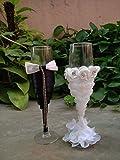 Satyam Kraft Wine Glasses for couples Set of 2 for Husband Wife Glass wine glasses/bridal wine glass/gift for couple