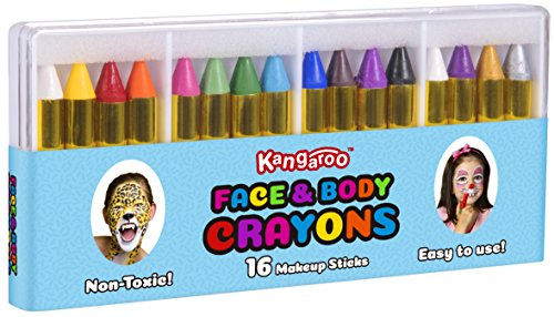 Kangaroo's Face Paint and Body Crayons - 16 Colors - Safe & Non-Toxic Facepainting Sticks; Facepainting Supplies (Kids Halloween Face Painting)