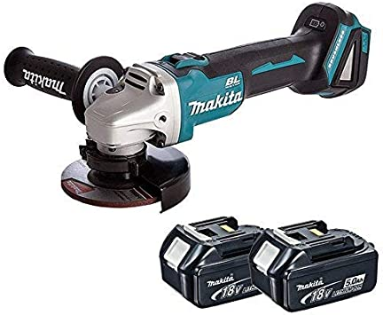 Makita DGA452Z 18V 115mm Cordless Angle Grinder with 2 x 5.0Ah BL1850 Batteries /& DC18RC Charger