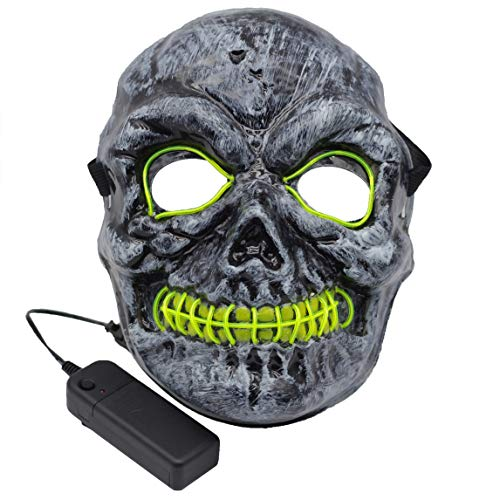 Kvvdi Adult Scary Halloween Masks Cosplay Led Costume Skull Mask EL Wire Light Up Halloween Decorations (6.7 X 9 Inch)