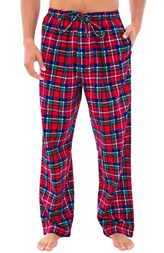 Alexander Del Rossa Mens Flannel Pajama Pants, Long Cotton Pj Bottoms, Large Blue Red and Green Plaid (A0705Q19LG)