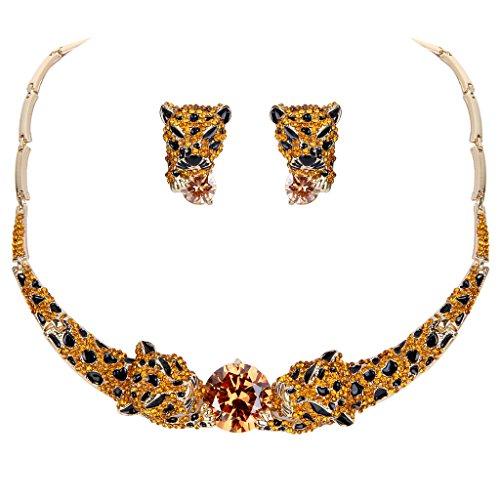 Gold Tone Leopard - EVER FAITH Gold-Tone Leopard Orange CZ Crystal Necklace Earrings Set