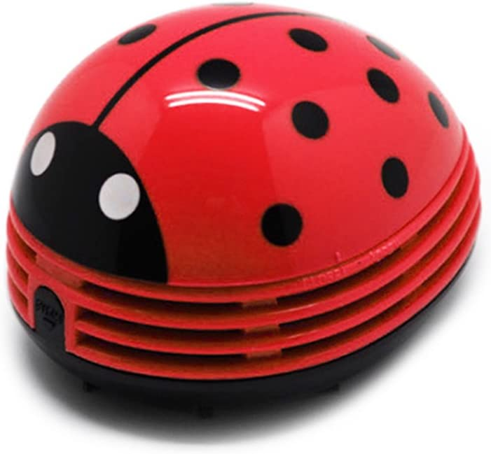 redcolourful Mini Ladybug Dust Vacuum Cleaner Portable Home Office Corner Desk Table Sweeper red Household Products