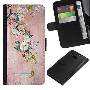 For HTC One M8 Case , Lake Tree View Mist Magical - la tarjeta de Crédito Slots PU Funda de cuero Monedero caso cubierta de piel