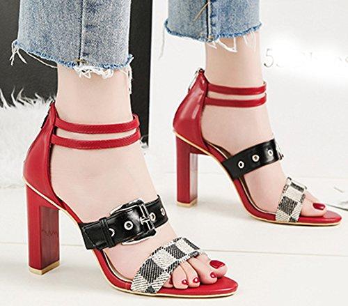 Easemax Femme Mode Talon Bloc Chaussure D'Eté Bal Fille Sandales Rouge 8UKlI