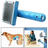 Itian Stainless Steel Cat Dog Grooming Brush Pet Self Cleaning Slicker Brush Pet Deshedding Tools Painless Safety Hair Matting Removal (Blue)