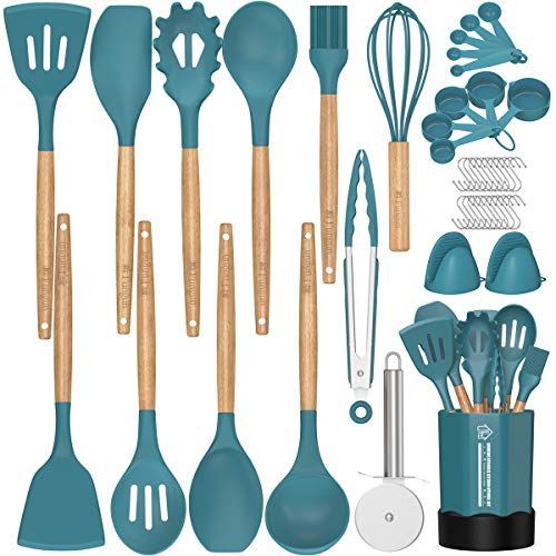 Kitchen Utensil Set Silicone Cooking Utensils -Fungun 26 pcs Kitchen Utensils Tools Wooden Handle Spoons Spatulas Set Cookware Turner Tongs Whisk Kitchen Gadgets with Holder (BPA Free, Non Toxic)