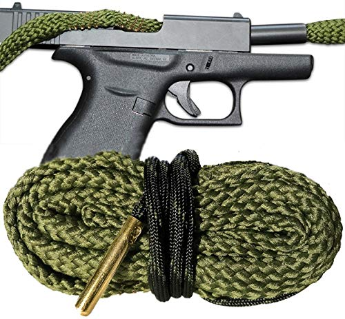 Bore Cleaning Snake For Your 9 MM Pistol - One Pull Cleaning - Glock Ruger Smith and Wesson Kimber Beretta Heckler & Koch Remington SIG Sauer Springfield Armory Taurus Walther Cobra Bore Snakes (Best Champs To Get Out Of Bronze)