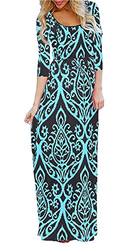 BLUETIME Women's 3/4 Sleeve Bohemian Floral Empire Waist Flowy Maxi Long Dresses with Pockets