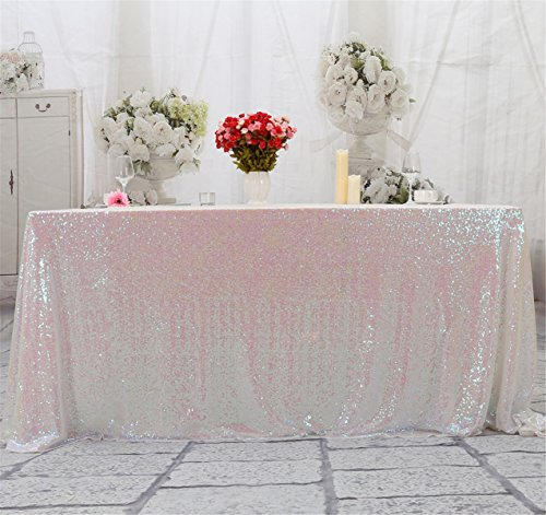 Eternal Beauty Square Sequin Tablecloth, Sequin Table Linen (48