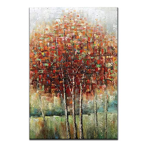 Boiee Art,24x36Inch Hand-Painted Birch Trees in Fall Oil Paintings Red Tree Canvas Wall Art Landscape Artwork Modern Home Decor Art Wood Inside Framed Hanging Wall Decoration Abstract Painting]()