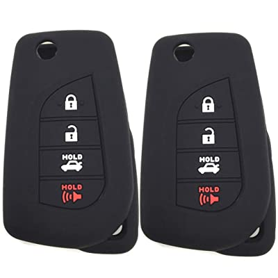Ezzy Auto A Pair Silicone Rubber Key Fob Case Key Covers Key Jacket fit for Toyota Camry Yaris Avalon Corolla Highlander Sequoia Sienna Tundra Tacoma 4Runner Rav4: Automotive