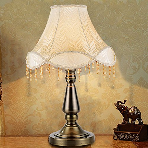 HUACANG European Luxury Metal LED Table lamp, Retro Simple Bedroom Bedside Living Room Cloth Art E27 Decorative Lights (Two-Color Optional) (Color : A1) by HUACANG (Image #4)