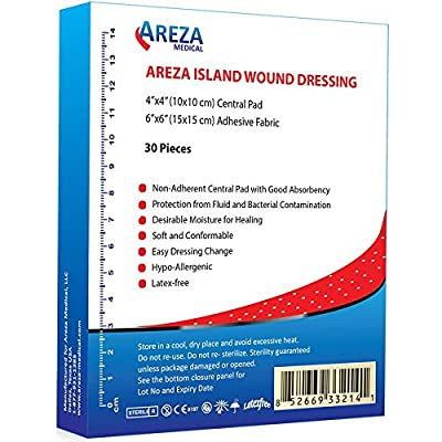 "Bordered Gauze Island Dressing 6"" x 6"" Sterile Latex Free 30 Per Box"