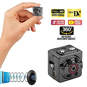 Mini Spy Hidden Wireless Camera with Audio Recorder 1080P - Wide-Angle Secret Small HD Nanny Cam - Night Vision, Motion Detector - Infrared Indoor Security Camera for Home,Office and Outdoor - No Wifi