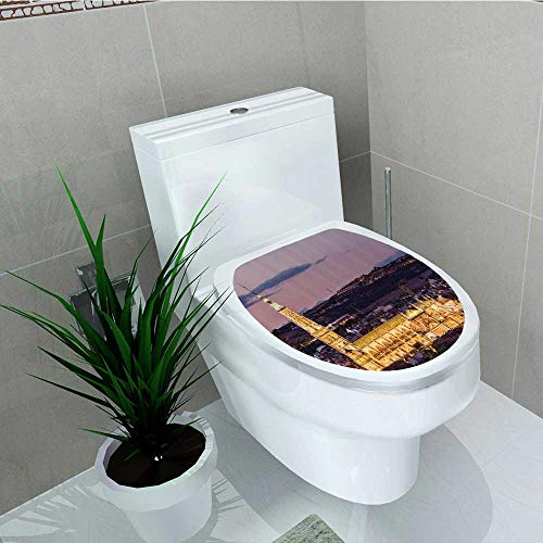 Home Decoration Dusk as The Flood Lights are Illuminated Cathedral in Ancient City Toledo Spain Prin Toilet Cover Stickers W14 x L14 ()