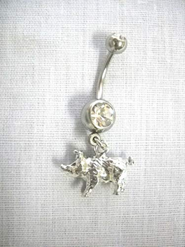New Farm Animal 3D Pig/Piggy Detailed Charm ON Clear Belly Button Ring