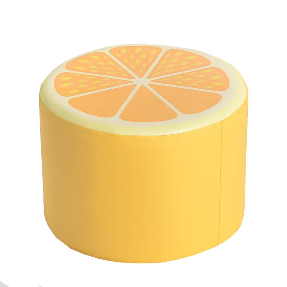 orange ZHAOYONGLI Stools Footstool Step Stools Work Stool Beauty Roller Stool Bedroom Living Room Cortex Fruit Shape Multiple Choices 40  40  30cm Creative Solid Durable Long Lasting (color   orange)