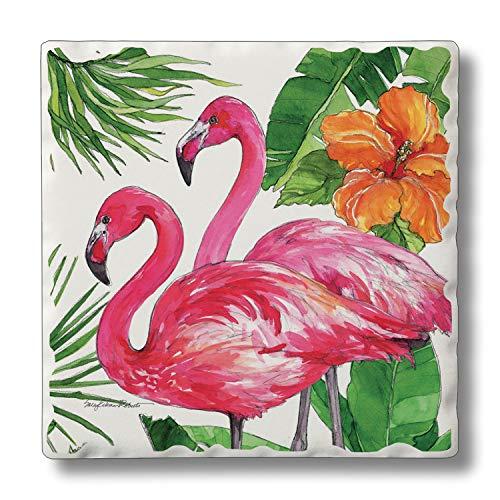 (Absorbent Stone Coaster Set - Flamingo Tropical 4)