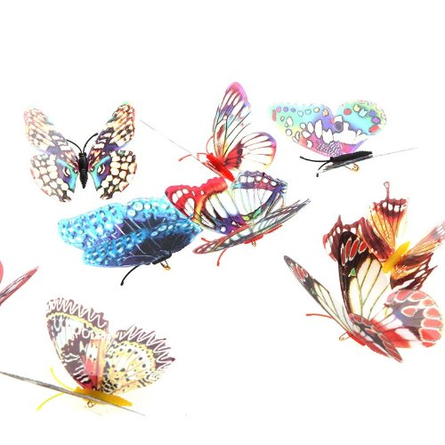 GigaMax(TM)Home Decor 8cm Artificial Butterfly Luminous Pin Clip 20 Pcs/pack Christmas Wedding Decoration
