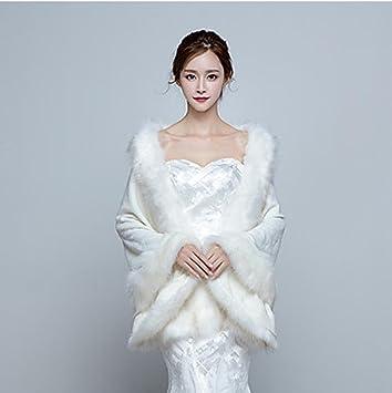 Mujeres Elegante Wrap abrigo Capes Faux piel de bodas / Fiesta / Noche Invierno sólido grueso blanco / rojo , white , one-size: Amazon.es: Hogar