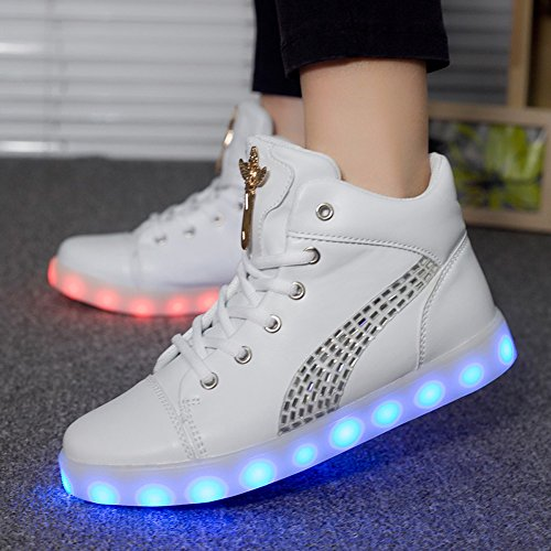 Colors Led glow Light Charging Up Light Luminous Casual Women Led USB White Shoes 11 qPtT6YxUWw