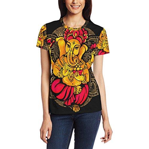 Franzibla Ganesh Ganesha Women's 3D Printed Short Sleeve T-Shirt Top Tee (Best Photos Of Ganesh Ji)