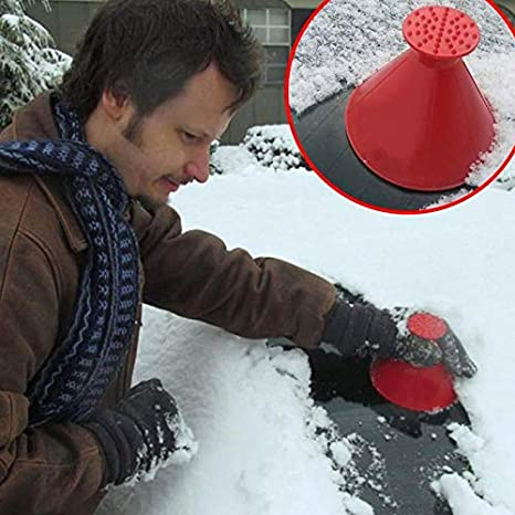 Trkee Magical Car Windshield ICES Snow Remover Scraper Tool Portable Cone Shaped Funnel