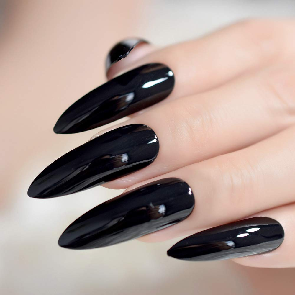 Amazon.com : Extra Long Sharp Classic Solid Stiletto False Nails Tips Oval Stilettos Bright Black Uv Gel Salon Acrylic Fake Nail Art Z752 : Beauty