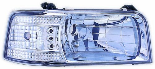 IPCW CWS-530C2 Crystal Clear Diamond Cut Headlight with Corner Lamps - (Diamond Cut Clear Corners)