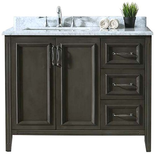 "Ari Kitchen and Bath AKB-JUDE-42-FRGR Jude Vanity Set 42"" French Grey - Solid hardwood construction Hand crafted furniture Soft closing drawers and doors - bathroom-vanities, bathroom-fixtures-hardware, bathroom - 51VurZlohDL -"