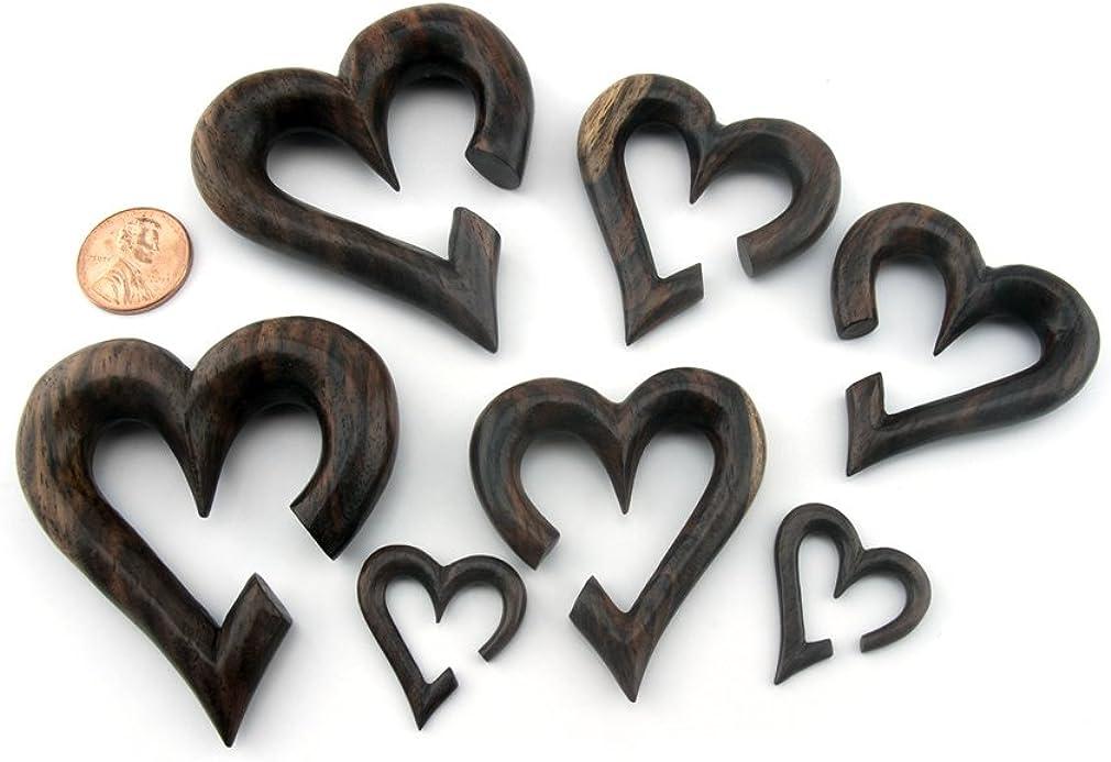 Urban Body Jewelry Pair of 4 Gauge Sono Wood Heart Hanger Plugs 4G - 5mm